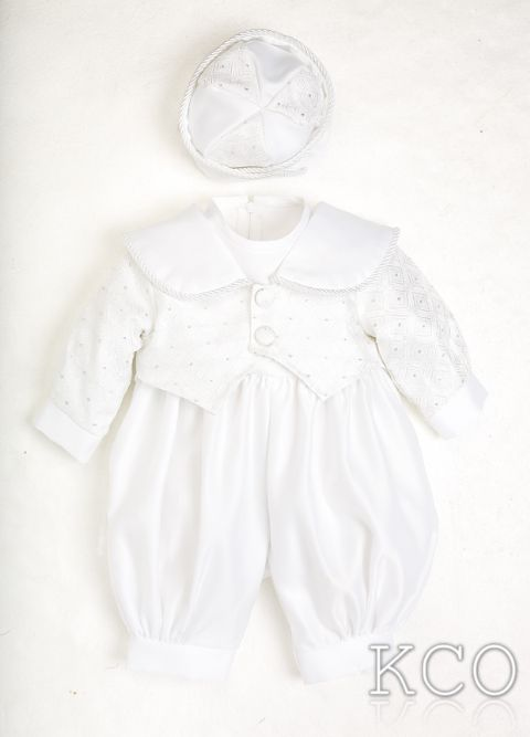Diamond Brocade Romper White~ Boys Suits